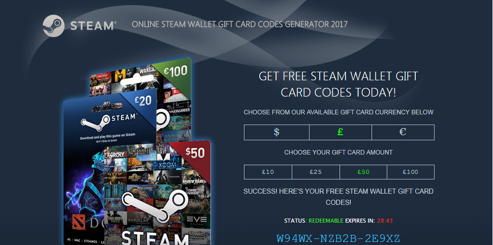 free steam wallet gift card