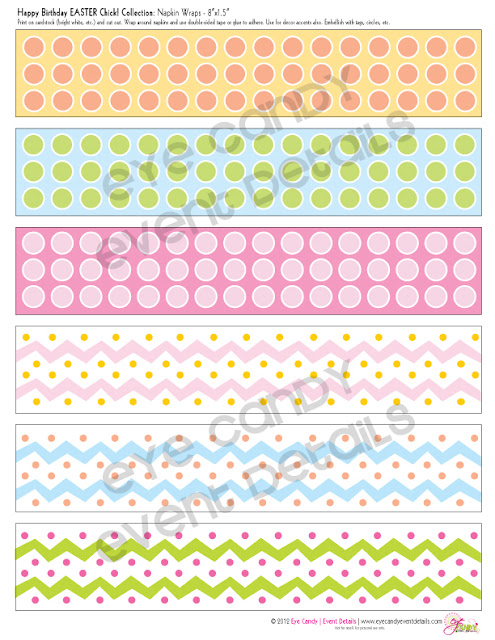 napkin wraps, easter birthday napkin wraps, easter birthday, polka dot napkin wraps