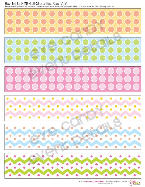 napkin wraps, easter birthday napkin wraps, easter birthday, polka dot napkin wraps