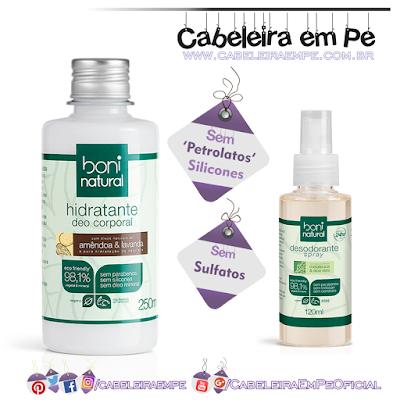 Composição completa Hidratante e desodorante Boni Natural Sem sulfato, sem petrolato e sem silicones