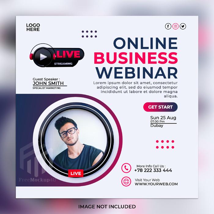 Live Streaming Webinar Digital Marketing Corporate Social Media Post Template