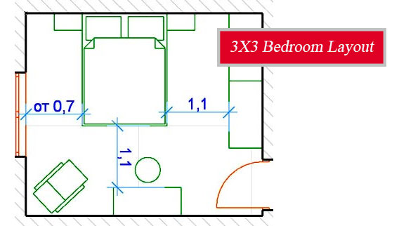 3x3 Meters Bedroom Layout - Planning a small room - My ...