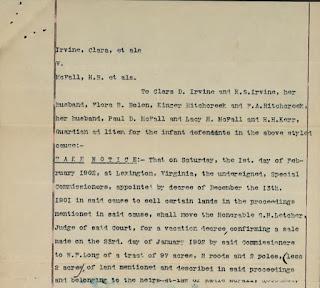 Chancery Suit Index 1906-105 Clara D Irvine & c vs H B McFall & c