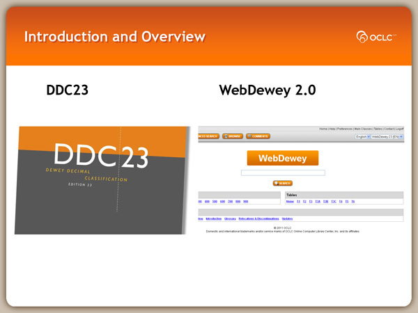slide from D D C 23 web dewey 2 point O introduction and overview