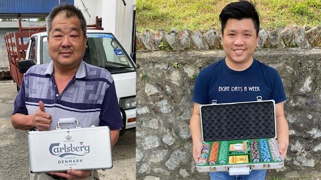 Win a Carlsberg Poker Set when you submit your Carlsberg purchases for take aways at participating pubs and bars like Mr. Lee Sow Onn and Mr. Yong Wee Keong
