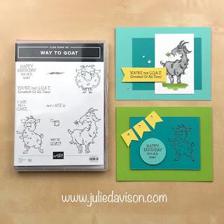 "16 Alternative ""Get & Go"" Project Ideas ~ Stampin' Up! Way to Goat Cards ~  www.juliedavison.com #stampinup"