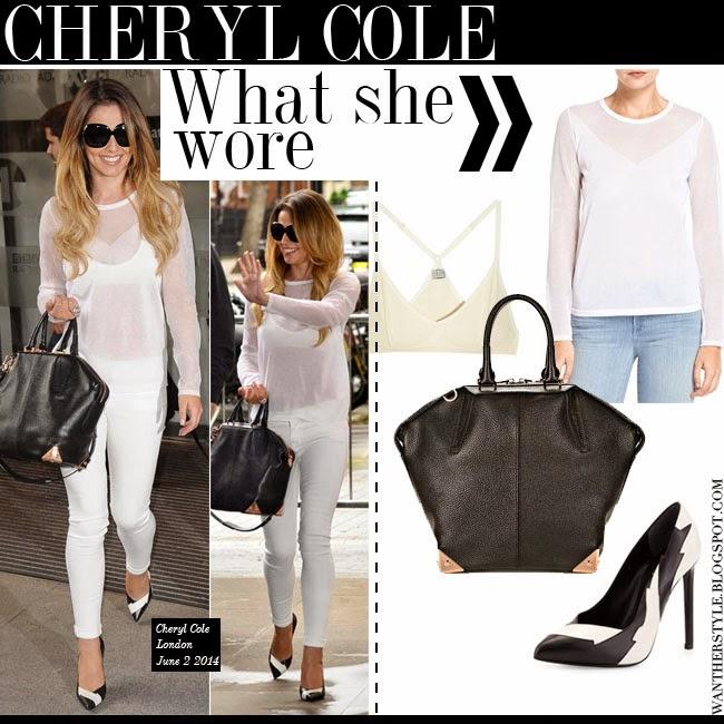 Cheryl Cole In White Sheer Top J Brand Tilman Skinny Jeans Black Bag