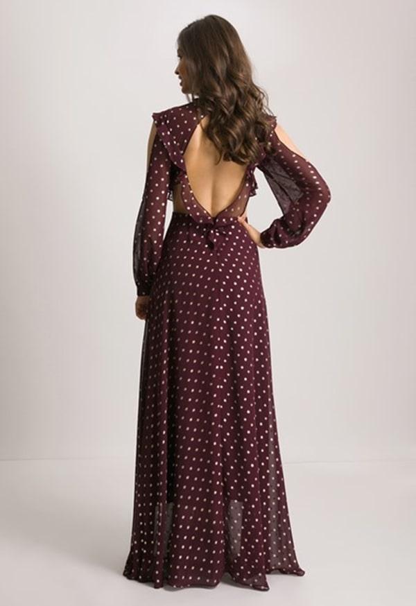 vestido longo poa vinho