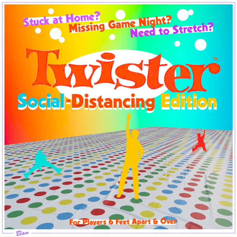 Twister Social-Distancing Edition / colored silhouettes of people far apart on massive Twister mat that stretches to horizon