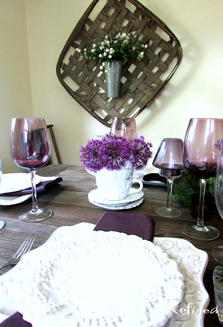 Italian dishes in a white and purple tablescape