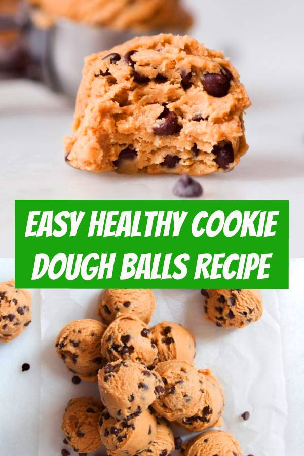 These Healthy Cookie Dough Balls are a healthy snack and take 5 minutes to make. They are filled with nut butter, sweetened with honey, and only five ingredients total. #healthysnacks #snacks #cookies