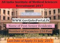 All India Institute of Medical Sciences Recruitment 2017– 236 Senior Residents
