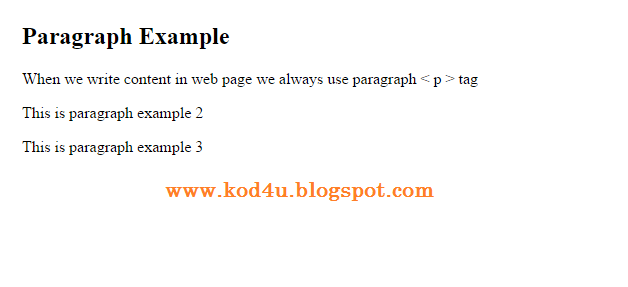HTML Paragraph Tag Example