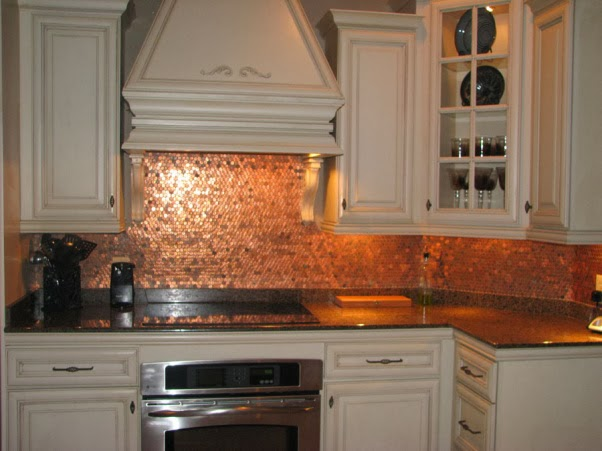 The art of up cycling upcycling ideas old coin sculpture - Penny tile backsplash kitchen ...