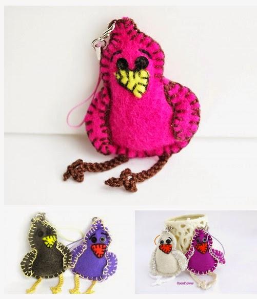 Les piou-piou bijoux de téléphone portable ou porte-clés - Par CocoFlower - www.cocoflower.net