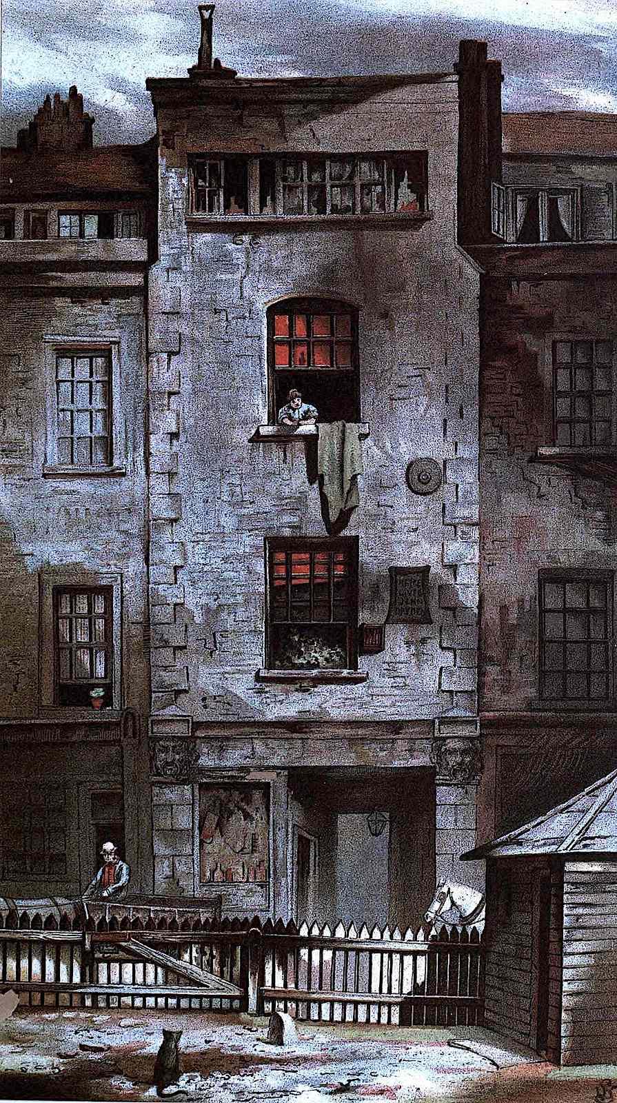 a 1900 London neighborhood illustration