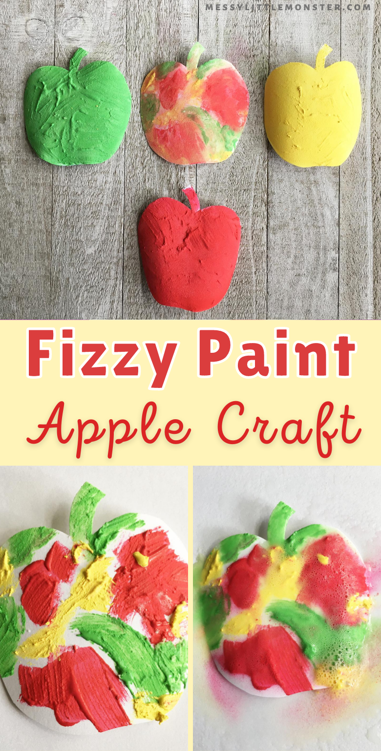 Fizzy paint apple craft for kids. Easy fall craft.