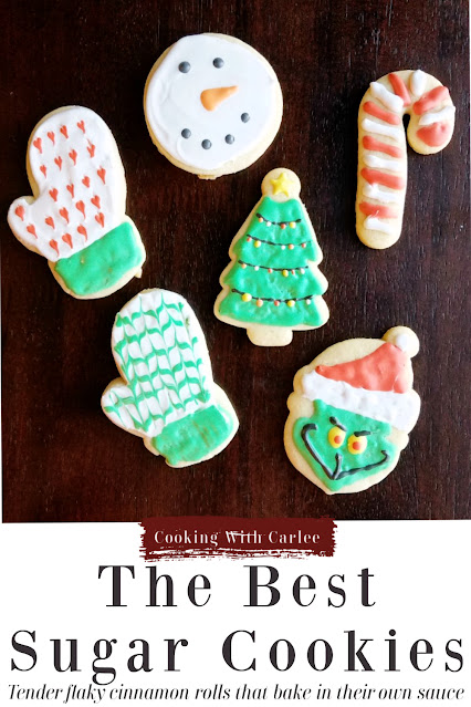 These are my favorite sugar cookies to roll-out, cut and decorate.  The dough is easy to work with, not too stiff, not too sticky and they taste delicious!