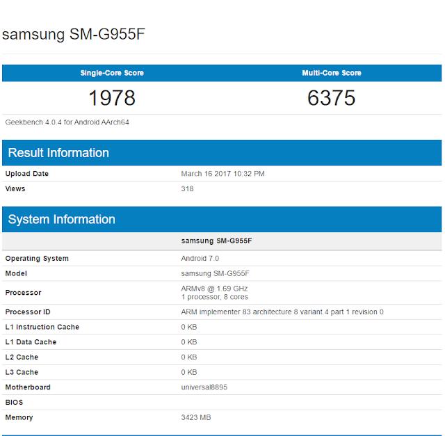 Samsung Galaxy S8 Exynos 8895 benchmarks