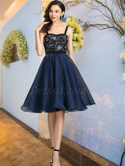 Blue Floral Backless Cocktail and Party Dress