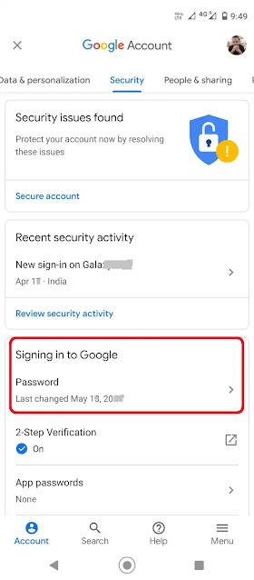 Under Securit tab, go to Password