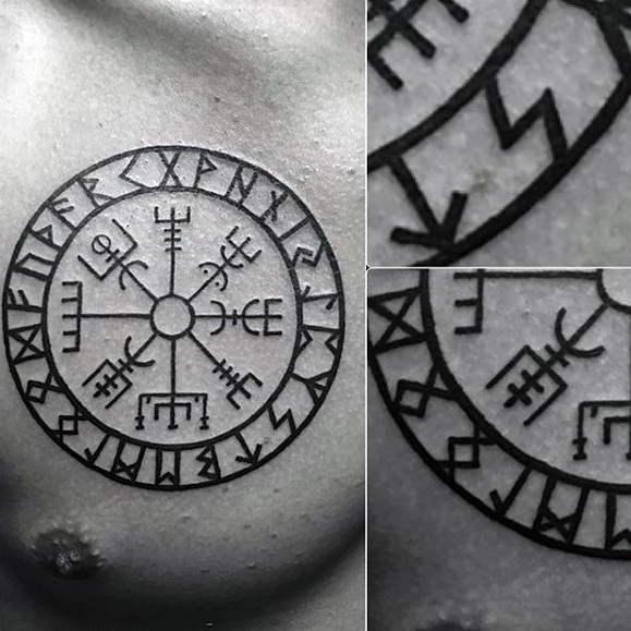 tatuaje de vegvisir vikingo