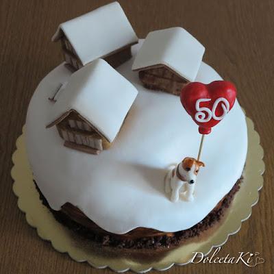 torta chalet jack russell e neve