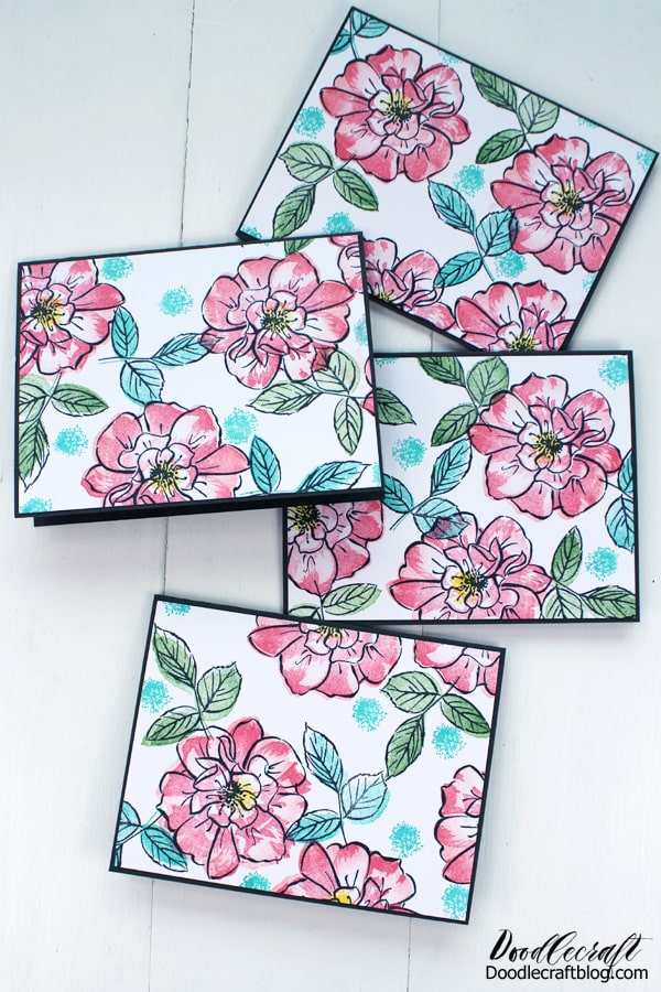 Quick Stamped Handmade Cards DIY with bright colored florals, perfect for sending cards through the mail.