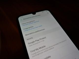 setting in-display fingerprint reader - Samsung A50
