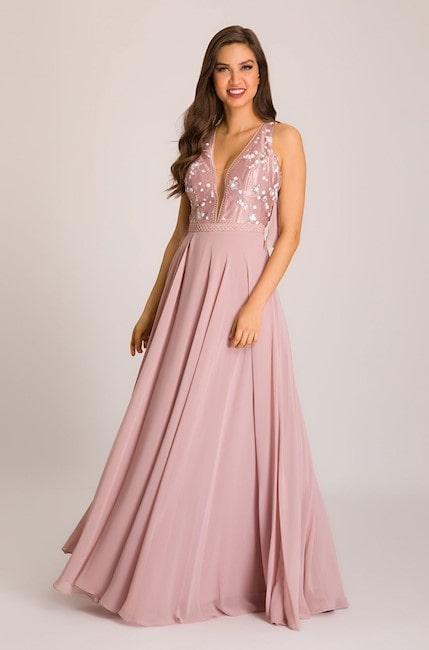 vestido longo rosa claro para madrinha