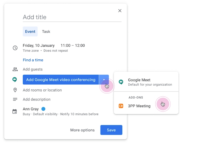Make Google Meet or an add-on your default video conferencing option in Google Calendar 1