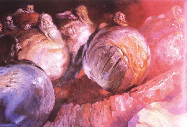 Los Avaros by Josep Segrelles, Macabre Art, Macabre Paintings, Horror Paintings, Freak Art, Freak Paintings, Horror Picture, Terror Pictures