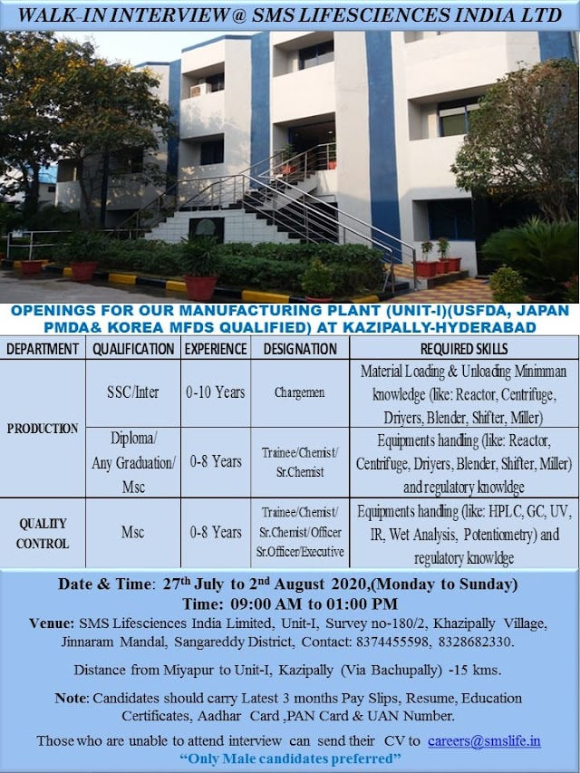 SMS Life Sciences India Ltd. Walk in Drive- Production/ QC from 27th July to 2nd August 2020 @ Hyderabad