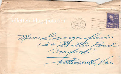 Envelope to Mary E Davis aka George https://jollettetc.blogspot.com