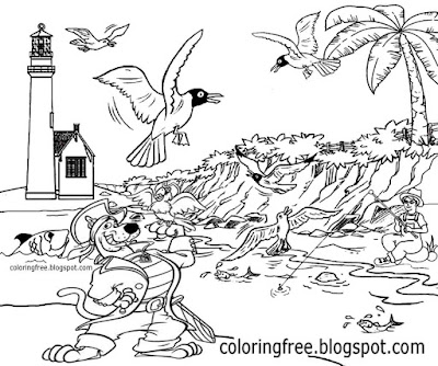 Printable shore sea pirate parrot bird Scooby Doo colouring eerie ghost ship port lighthouse sketch