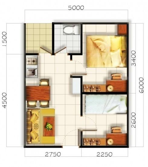 gambar denah rumah kecil minimalis 3