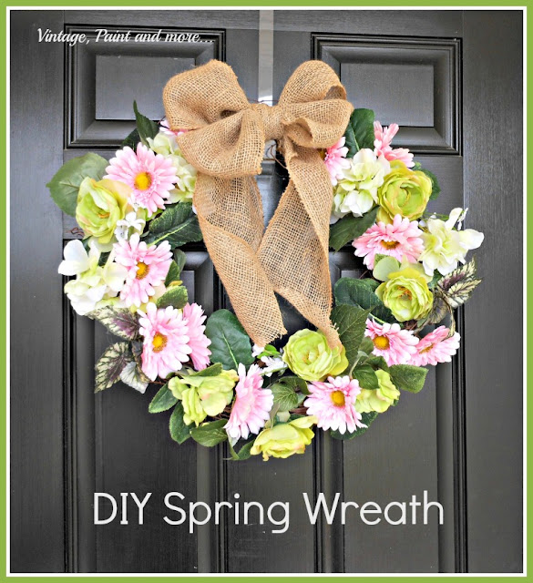DIY Spring Wreath by Vintage, Paint and more|One More Time Events-www.onemoretimeevents.com