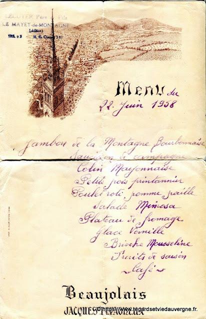 Vieux papiers menu Lecuyer, le Mayet de Montagne, Allier.