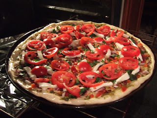 Great American Pizza - a homemade grilled pizza with Heirloom Tomatoes, fresh mozzarella and basil - Easy Life Meal & Party Planning
