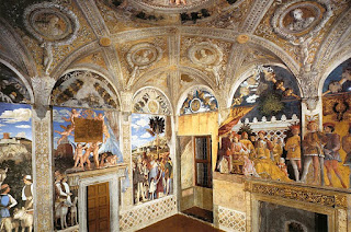 A view of the Mantegna frescoes in the Camera degli Sposi in the Palazzo Ducale in Mantua