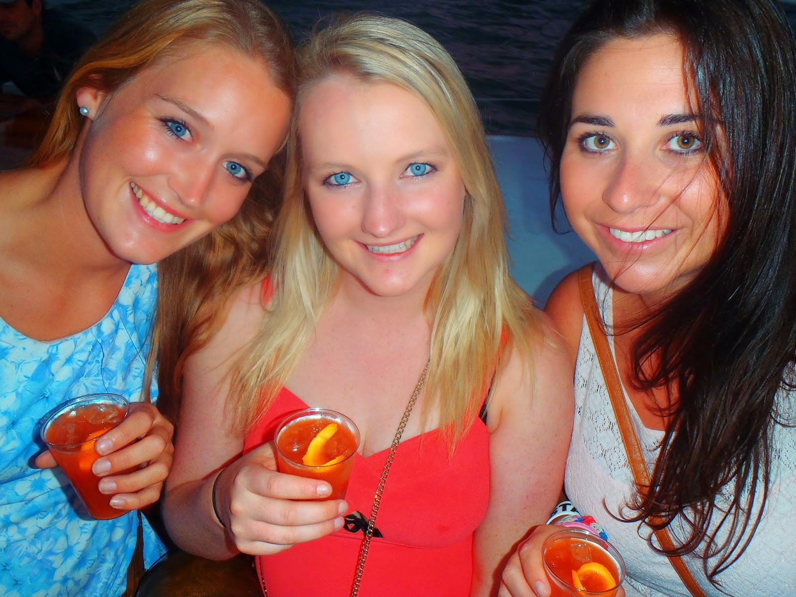 me and the girls with our cocktails in hand