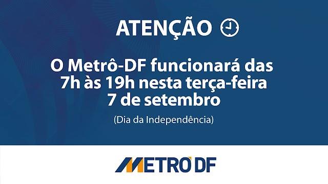 No feriado de 7 de setembro, o Metrô-DF funcionará de 7h às 19h.