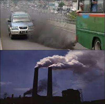 polutan asap kendaraan serta pabrik