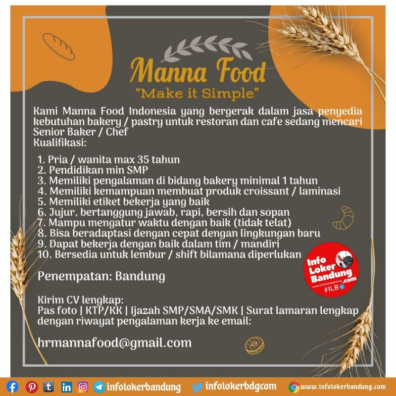 Lowongan Kerja Manna Food Bandung Agustus 2021