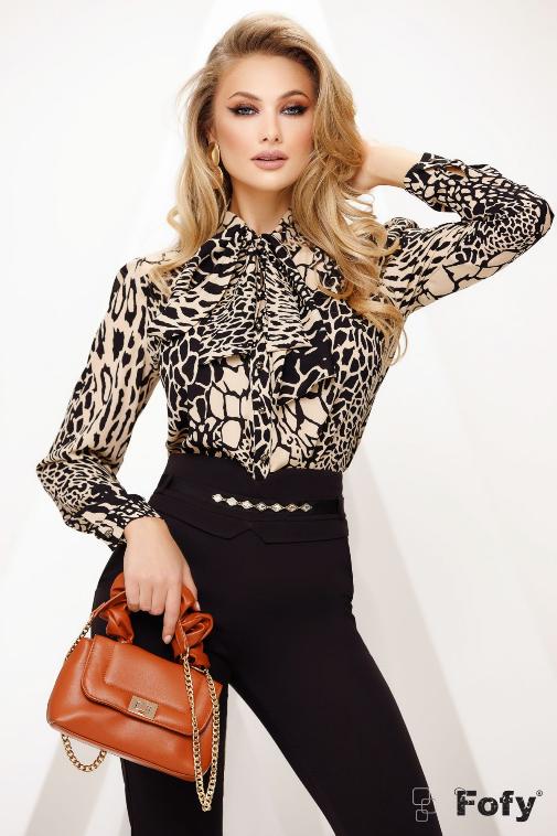 Bluza femei eleganta din voal cu animal print si guler tip esarfa