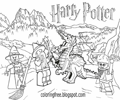 Magic dragon printable Harry potter Lego city coloring book pages for kids clipart wizard picture