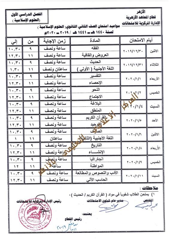 جدول مواعيد امتحانات صفوف ابتدائي واعدادي وثانوي 2019-2020 بالازهر 303