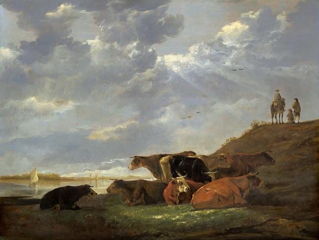 Альберт Кёйп - Речной пейзаж с коровами. 1645-50