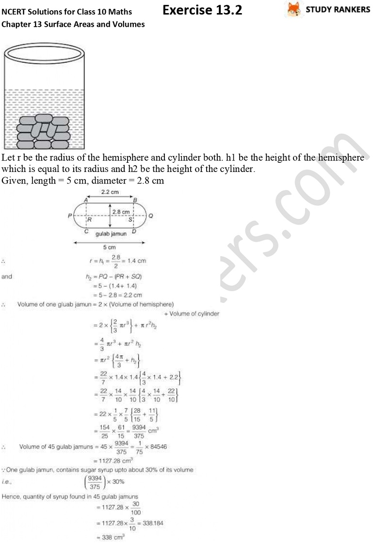 NCERT Solutions for Class 10 Maths Chapter 13 Surface Areas and Volumes Exercise 13.2 Part 3