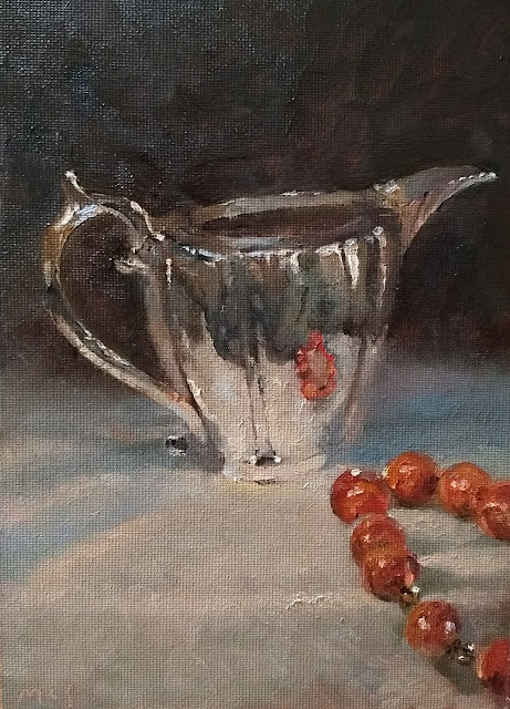"""180130 Silver and linen reflections. 5x7"""" still life in oils on canvas panel"""